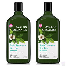 PACK OF 2 Avalon Organics Tea Tree SCALP TREATMENT SHAMPOO 325ml