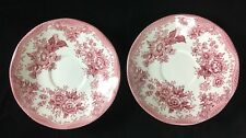 "Two (2) Vintage Pink ""Asiatic Pheasants"" Parliament for Premiere England Saucers"