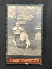 Rare Victorian Carte De Visite CDV: Lady & Boy Outside: Embroidered Best Wishes