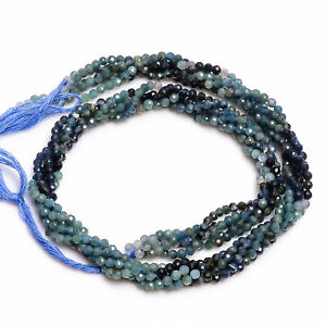 3 mm Natural Blue Tourmaline Shaded Faceted Round Rondelle Beads 33 cm Strand