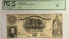 1861 $10 Ten Dollar T-30 Confederate Note Pcgs Very Fine 30