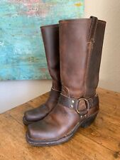 FRYE Harness Brown Leather Motorcycle Biker Boots Women's Size 6.5 M USA 77300