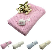 EE_ Baby Newborn Soft Warm Cotton Solid Knitted Crochet Rectangle Blankets Splen