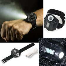 Outdoor Sports 4Mode LED Rechargeable Tactical Wrist Watch Flashlight Torch Lamp