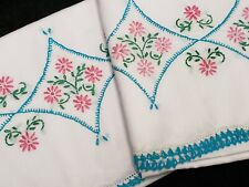 Vintage Pillowcases Hand Embroidered Crocheted Turquoise & Pink Flowers 50s