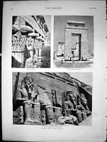 Old Print Cairo And Nile Temple Esneh Great Temple Aboo Simbel Pylon 1880 19th