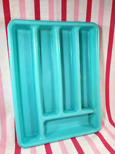 Awesome Vintage Aqua 5 Section Soft Plastic Flatware Silverware Tray Organizer