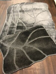 ROMANY GYPSY WASHABLE SET OF MATS RUGS DARK-GREY SHAPED CARPETS NON SLIP BARGAIN