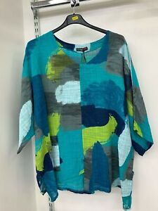Italian Linen Cotton Tunic Top Lagenlook Plus Size UK 14 16 18 20 22 24 *8clrs*