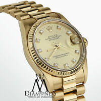 Ladies 31mm Rolex Presidential Datejust 18K Gold Champagne Dial Diamond Watch