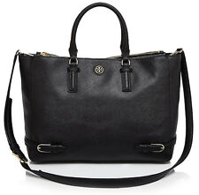 NWT TORY BURCH 'Robinson' Large Black Saffiano Leather Multi Tote Crossbody Bag