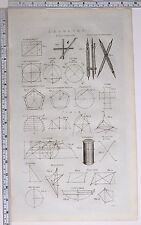 1786 impresión Original geometría elíptica brújulas acordes & curva de Cubo de círculo