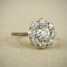1.26 Cttw Diamond Flower Cluster Engagement Ring In Solid 10k White Gold