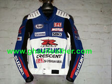 SUZUKI GSXR WHITE & BLUE MEN MOTORCYCLE/MOTORBIKE MOTO GP LEATHER RACING JACKET