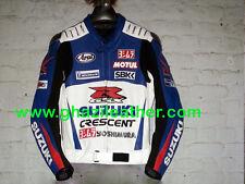 SUZUKI GSXR WHITE & BLUE MEN MOTORCYCLE/MOTORBIKE MOTO GP LEATHER RACING JACKET