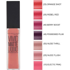Maybelline Vivid Matte Liquid Lipstick NUDE FLUSH  GREY ENVY BERRY ORANGE SHOT