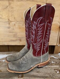 Anderson Bean Men's Stone Waxy Kudu & Red Explosion Cowboy Boots 330487