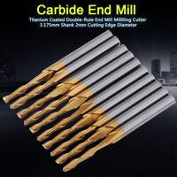 "10Pcs Titanium Coated Double-flute End Mill Milliling Cutter 3.175mm 1/8"" Shank"