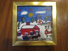 1976 SIGNED PHILIP WILLEY CHIEF PRIMITIVE OIL ON MASONITE PAINTING WINTER SCENE