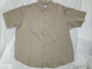 Mens shirt Tan Jerzees Big & Tall small 3XL 4XL 5XL Work uniform cotton NEW