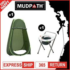 OzEagle Camping Change Room Shower Tent Ensuite + Portable Folding Toilet Chair