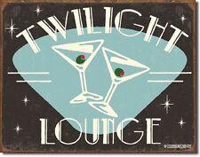 Twilight Lounge TIN SIGN martini glass wall art retro vtg bar metal poster 1175