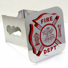"""Fire Department Logo Chrome Tow 2"""" Receiver Hitch Cover Stainless Steel Plug"""