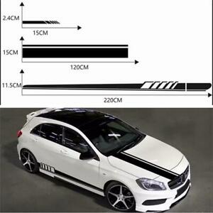 Car Skirt Sticker Decal Stripes For Rearview Mirror/Hood /Side Of Body Black PVC