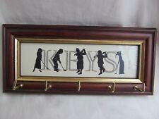 Grabado de elegancia Golf silueta clave del sostenedor del estante Madera Firmado Arte Vintage Usado