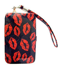 NEW Mundi Smart Cell Phone Case Wristlet Key Ring Credit Cash Red Kiss Lips