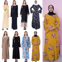 Abaya Women Muslim Maxi Dress Islamic Arab Ladies Floral Kaftan Arab Dubai Gown