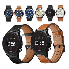 For Fossil Q Smart Watch Band 20mm 22mm Classic Leather Wristwatch Strap