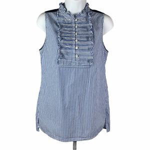 J. Crew Blue Striped Ruffle Top sz 4 Sleeveless Pintucks Button Long