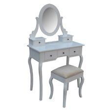 Homegear Parisian Dressing Table, Mirror & Stool Set/5 Drawer Vanity Makeup Desk