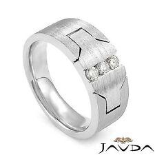 Round Diamond Mens 9.2mm Ring 3 Stone Half Wedding Band 14k White Gold 0.25Ct