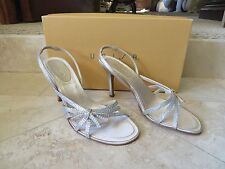 "Unisa Champagne Crystal Strappy Evening Shoes Sandals  3.5"" Heels 6.5B NIB"