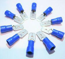 10 x Kabelschuh 6,3mm blau Flachsteckhülse AWG 16-14 für 1,5-2,5mm Flachstecker