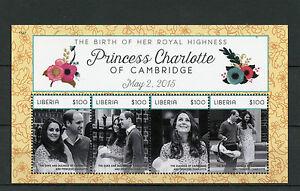 Liberia 2015 MNH Princess Charlotte Birth Royal Baby 4v M/S Prince William Kate