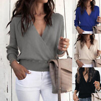 Womens Wrap V Neck Tops Sweater Jumper Casual Long Sleeve Loose Blouse Pullover