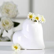 Vase Keramik Tisch Deko weiß Herz Casablanca Hochzeit Blume Blüte