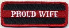 PROUD WIFE Red Fire Fighter Fireman EMT Biker MC Club Funny Vest PATCH PAT-3698