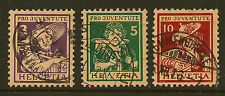 SWITZERLAND:1916 Children's Fund ( Pro Juventute)  set  SG J3-5 used