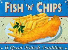 More details for fish n chips large steel sign  400mm x 300mm   (og)