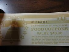 FOOD STAMP COUPON $40.00 book full of $5 coupon 1997B  MONTH CODE D UNC GEM