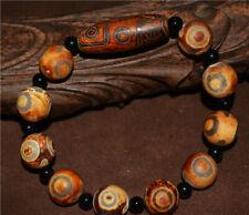 three eyed tibetan dzi bead tibet 9 amulet 3 eyes gzi old antique real bracelet