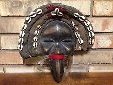 RARE ANTIQUE AUTHENTIC ORIGINAL AFRICAN DAN COWRIE SHELL CLOTH BEAK WOOD MASK