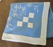 TABLE CLOTH Blue & White LINEN Applique Embroidery Eyelets Topper Supper Vintage