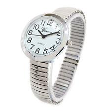 Geneva Silver Medium Size Round Face Stretch Band Women's Watch
