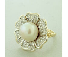Diamond and South Sea Pearl. Vintage Flower Ring 11.5mm Pearl 14K YG