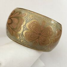 Vintage Bangle Brass & Resin Pink Floral Wide Statement Cuff Boho Art Nouveau